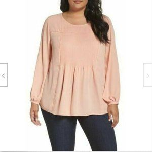 Sejour Front Center Pleated Pintuck Top Plus 18